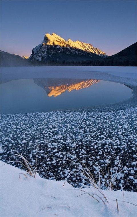 Mount Rundle Winter, Abraham Lake, Banff National Park In Albertan Canada.