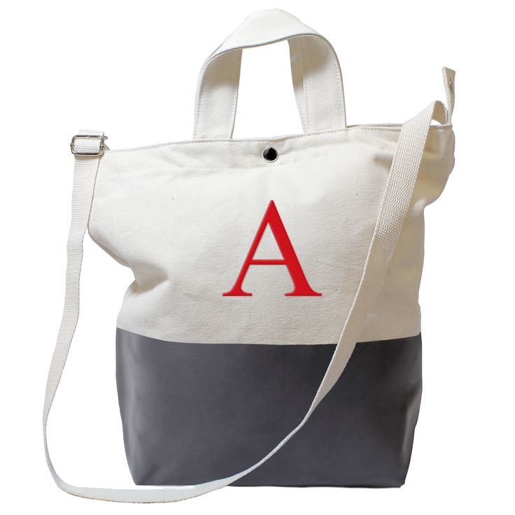This personalized canvas tote bag is perfect for a day at the beach or a weekend away. With a latex-dipped bottom and snap-top closure , this durable bag can be personalized with an optional red, stitched monogram initial of your choice.
