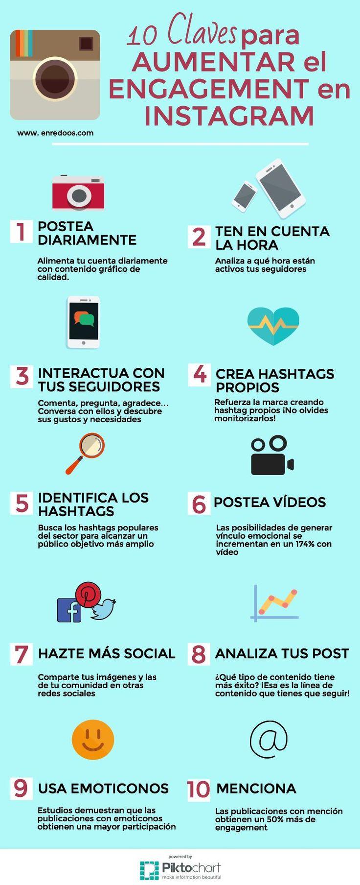 Hola: Una infografía con 10 claves para aumentar el engagement en Instagram. Vía Un saludo