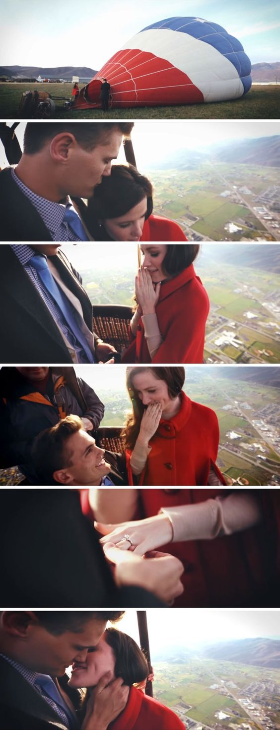 He proposed in a hot air balloon so they could get engaged on top of the world! The proposal video is beyond romantic.