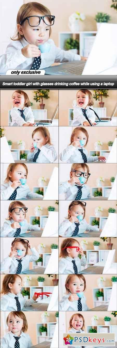 Smart toddler girl with glasses drinking coffee while using a laptop - 14 UHQ JPEG