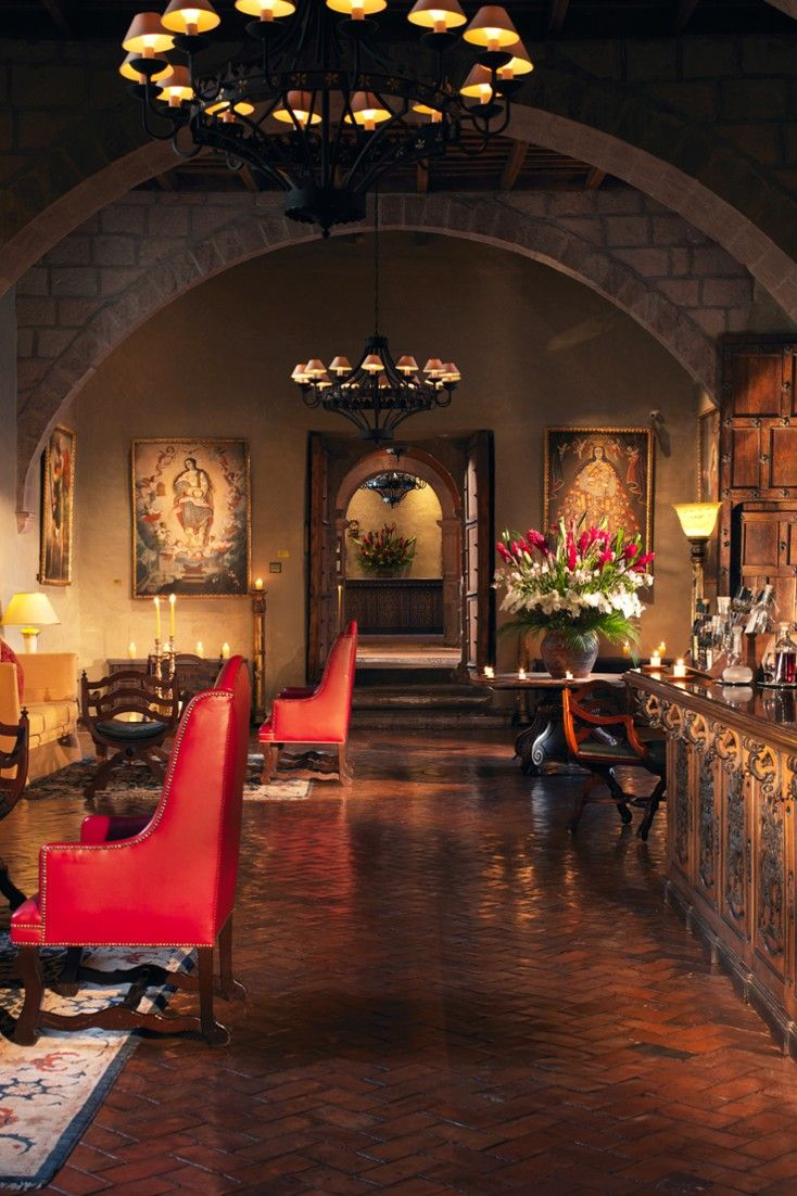 Don't miss an energizing coca tea or pisco sour in the intimate lobby lounge.  Belmond Hotel Montasterio Cusco, Peru