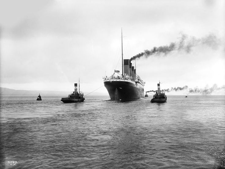 Titanic leaving Belfast, Ireland, for her sea trials, April 2, 1912. (Courtesy National Museums Northern Ireland)