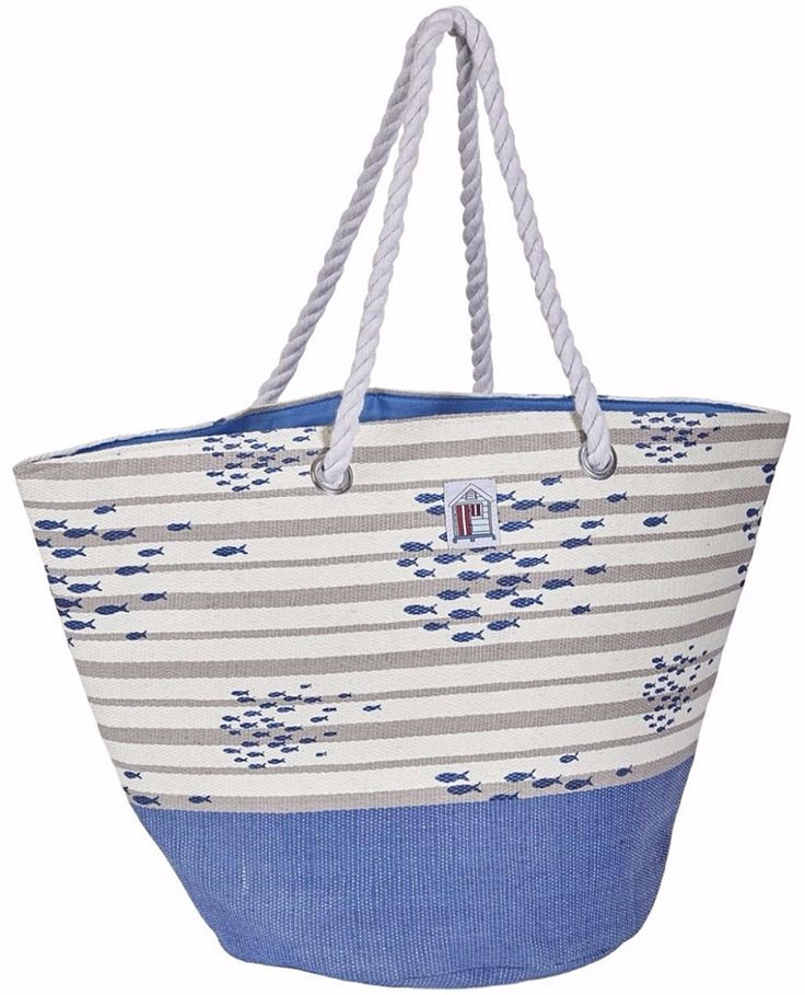Large woven style beach bag tote with a Fish pattern Beautiful quality Measurements approx 22 5 inch 56 cm x 14 5 inch 36 cm The bag is fully lined