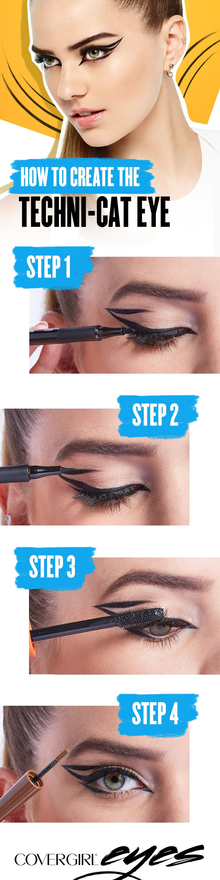 Create the perfect Techni-Cat eye using these 4 easy steps. Step 1: Create a baseline using COVERGIRL Intensify Me! Liner. Step 2: Build on this line and create a dramatic wing. Step 3: Load up your lashes and create instant volume using COVERGIRL LashBlast Mascara. Step 4: Then, add a pow to your brow using COVERGIRL Pow-Der Brow. COVERGIRL is the simple way to Draw Attention to your eyes.