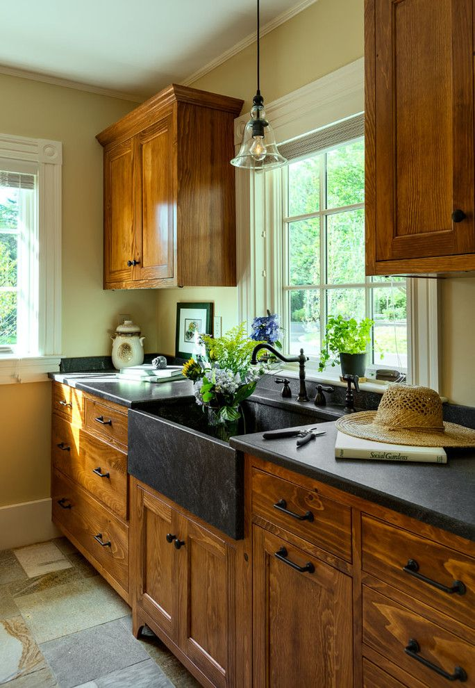 Splashy Copper Farmhouse Sink vogue Portland Maine Beach Style Garage And Shed Image Ideas with apron sink black counter black countertop black sink custom millwork custom-made dark wood cabinets