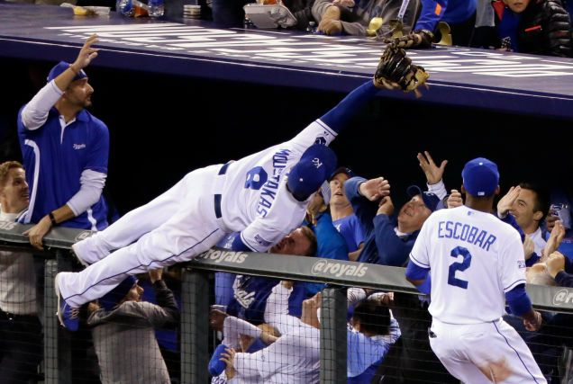 Royals Fans Didn't Let Mike Moustakas Hit The Ground--amazing catch in game 3 vs Orioles.