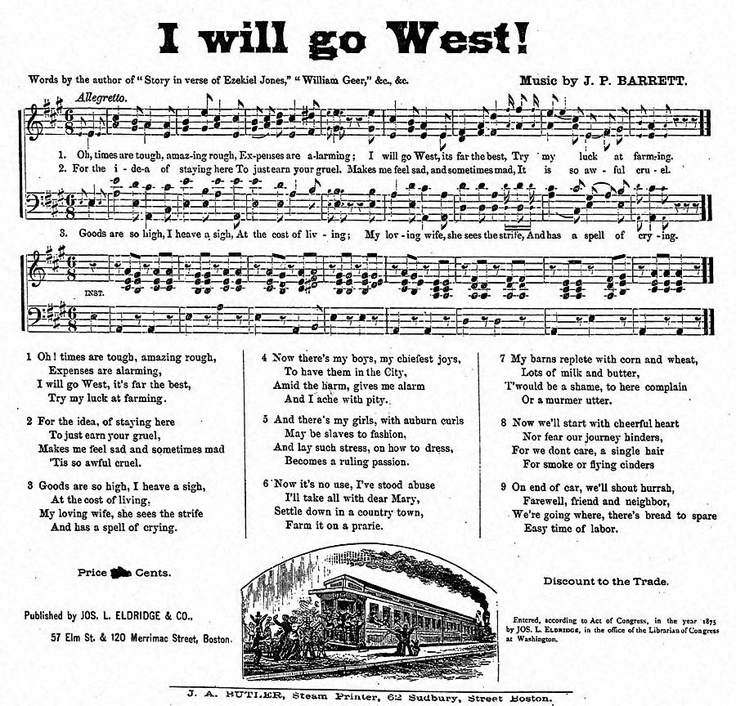 I will go West, Song, 1875.  From the Library of Congress.