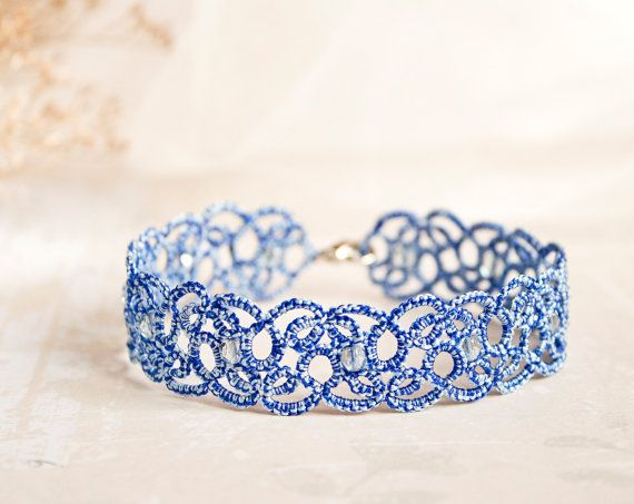 Something blue anklet, blue lace anklet, something blue wedding, something blue for bride, blue ankle bracelet, tatting accessories.