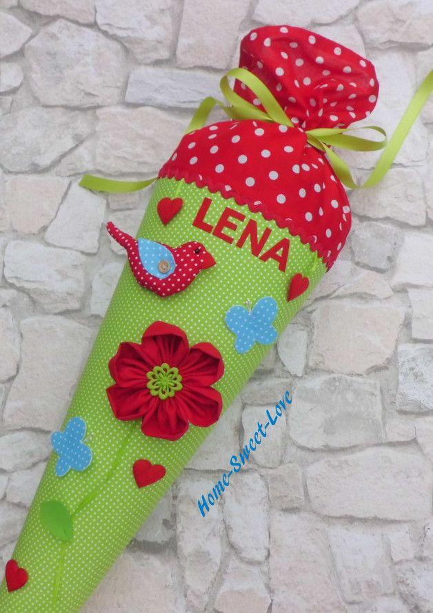 Inspiration für den Schulanfang und die Einschulung: Schultüte Blümli rot-grün / inspiration for the first day of school made by Home-sweet-love via DaWanda.com
