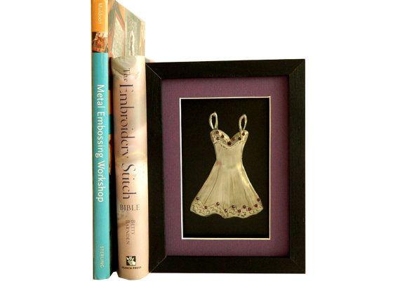 Metal Wall Art Pewter Dress Framed Amethyst Purple by Loutul, £16.00