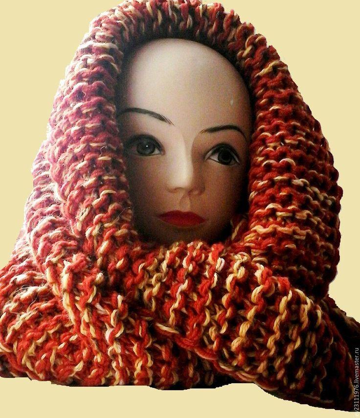 """Купить ВЯЗАНЫЙ СНУД """" ТЕРРАКОТА """" - комбинированный, абстрактный, вязание на заказ, вязание спицами"""