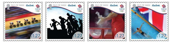 Isle of Man Post Office is proud to 'Bring on the Great' with the set of four Team GB Rio 2016 Olympic stamps in recognition of their participation in the Games.