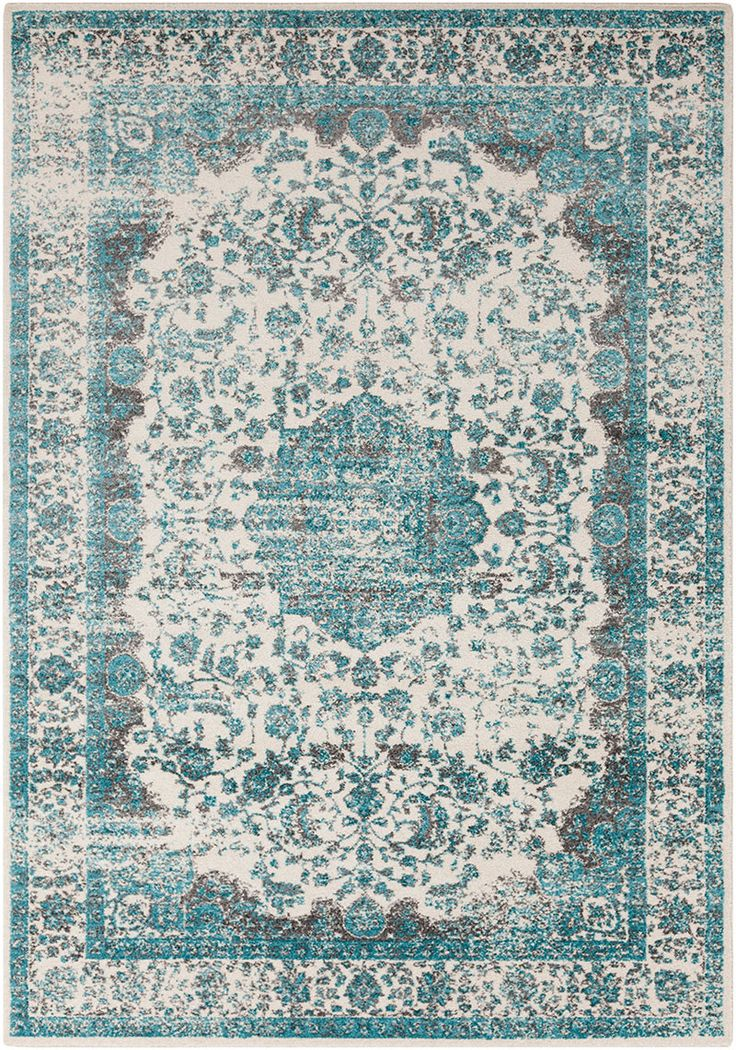 Aberdine Teal Light Gray Area Rug