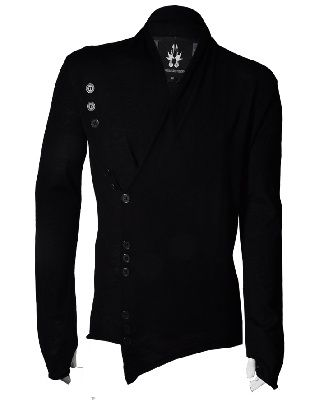 Men's cross over wrap that features asymetric button fastening and a scoop V-neck. This fine knit features thumb holes in the sleeves and signature back shaping. 100% Merino Wool by Bolongaro Trevor