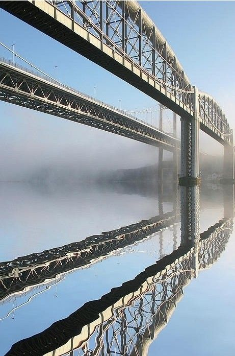 Tamar Road Bridge & Brunel Rail Bridge - the eastern gateway to Cornwall....spans the river Tamar which forms the natural boundry between Devon and Cornwall.