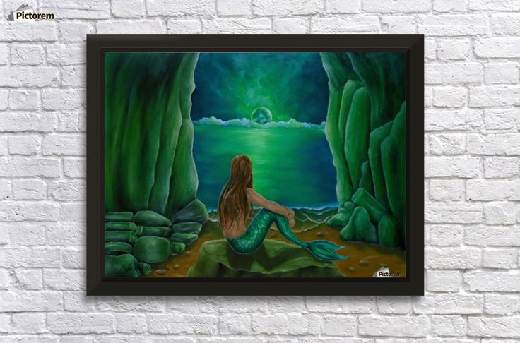 Acrylic Print, for sale, mermaid, coastal, scene, mythical, mythological, magical, creature, seascape, fish, feminine, nude, pose,sitting, on rocks, cave, night, romantic, nostalgic, lonely, water, legendary, night, moonlight, atmospheric, moody, fantasy, imagination, vivid, green ,beautiful, cool, imaginary realism, figurative, painting, fine, oil, art, images, decor, items, ideas, pictorem