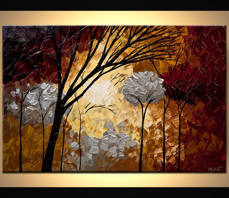 Silver Landscape Blooming Trees Painting Forest by OsnatFineArt