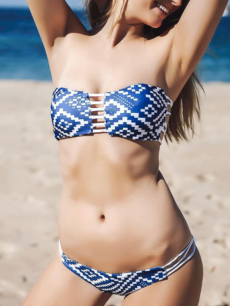 Strapless Blue and White Bikini Set                                                                                                                                                                                 More