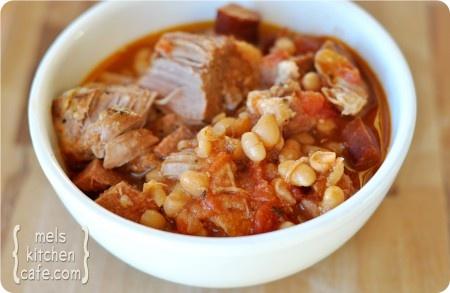 slow cooker pork & white beans