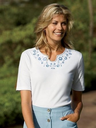 Delft Embroidered Tee $19.00