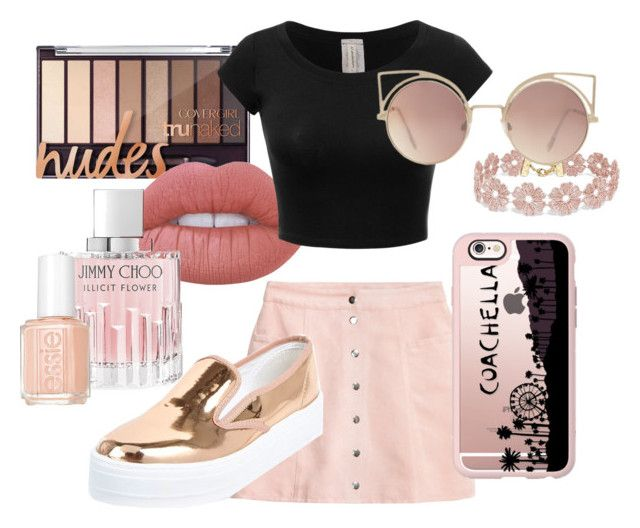 """""""Let's go pink ;)"""" by gde-2001 on Polyvore featuring mode, Lime Crime, Jimmy Choo, River Island, Essie, BaubleBar, MANGO en Casetify"""