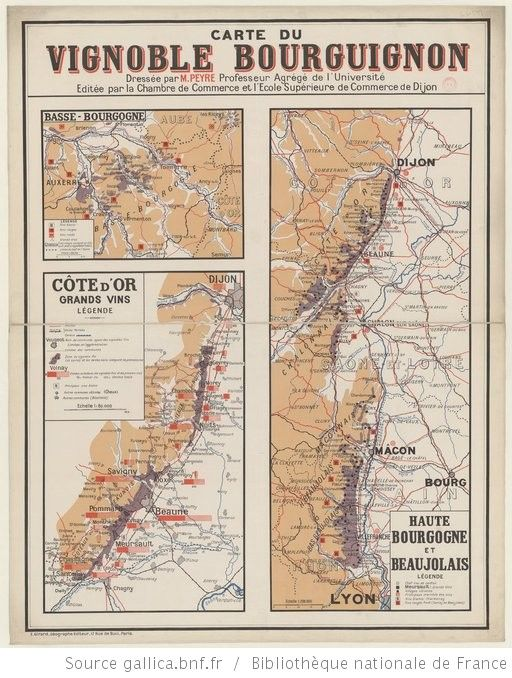 Carte du Vignoble Bourguignon. Haute Bourgogne et Beaujolais / Dressée par M. Peyre... ; Editée par la Chambre de Commerce et l'Ecole Supérieure de Commerce de Dijon - 1