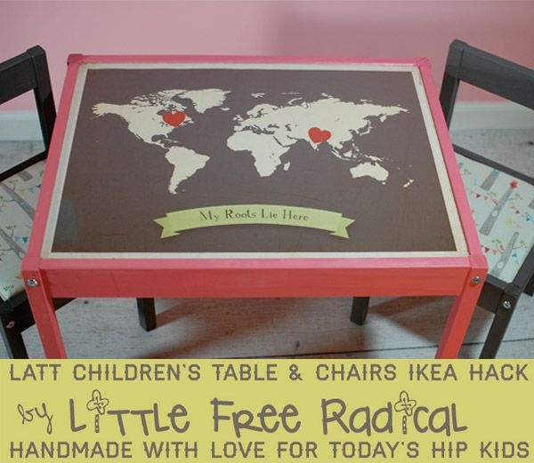 Cute ikea hack!! Using the LATT table and chairs set: Chairs Makeovers, Kids Tables, Diy'S Ikea, Free Radic, Ikea Hacks, Tables Makeovers, Diy'S Kids, Children Tables, Ikea Kids