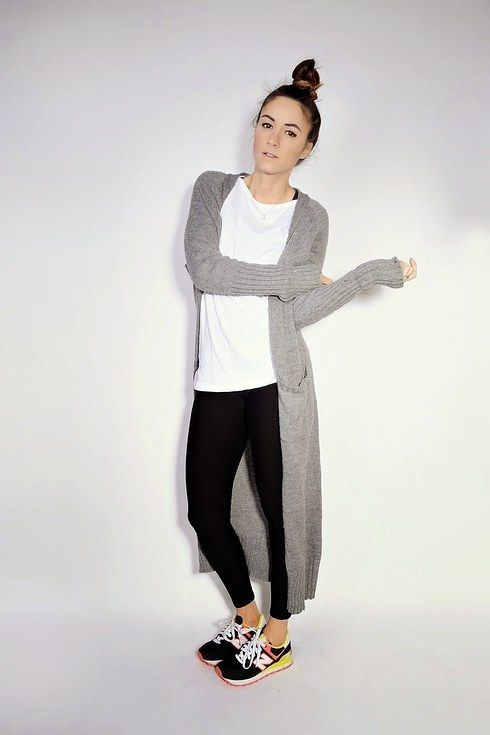 leggings, white shirt, oversized cardigan, bright shoes (would swap for loafers or docs or converse)