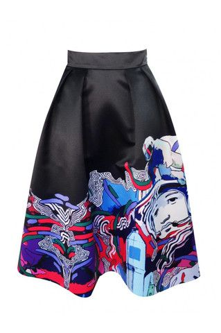 Flared skirt with an author print and a zipper on the back. This striking piece works especially well with the matching top.