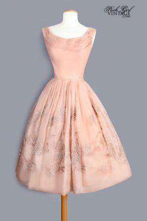1950's Nude Beige Silk Organdy Embroidered Dress