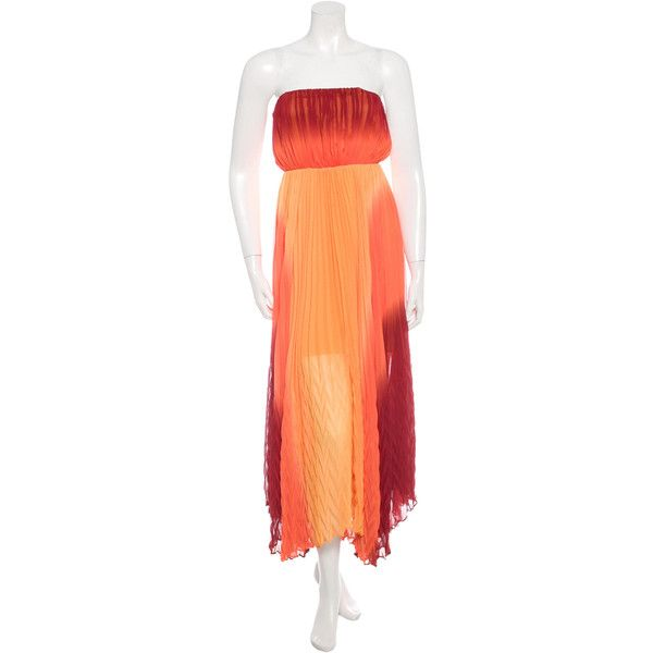 Pre-owned Alice + Olivia Pleated Sleeveless Maxi Dress (130 AUD) ❤ liked on Polyvore featuring dresses, orange, bandeau top, red dress, orange maxi dress, pleated maxi dress and red pleated dress