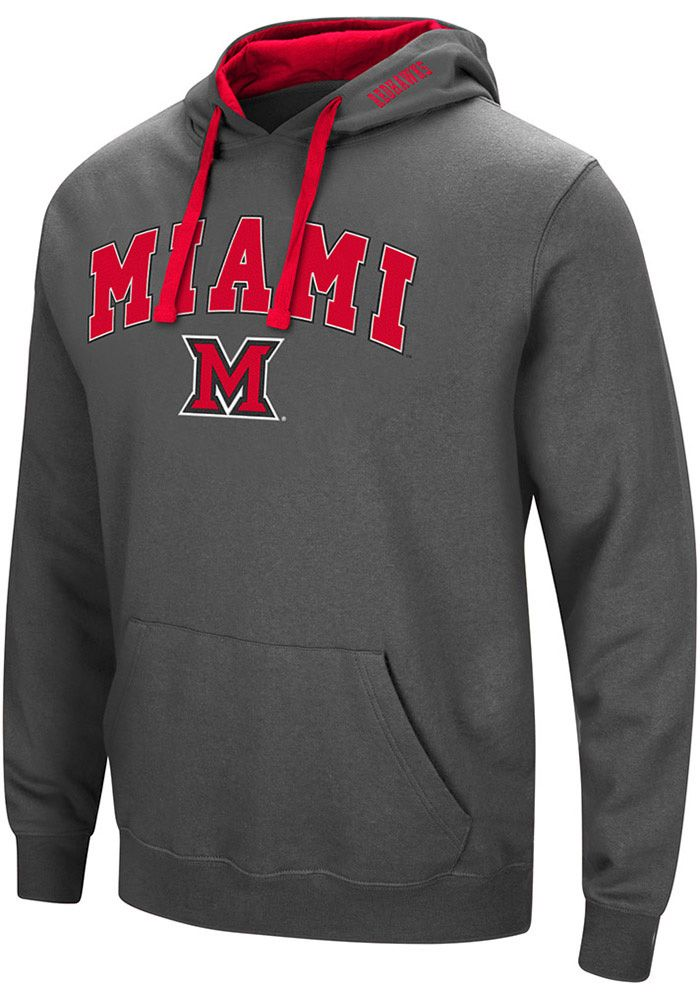 Colosseum Miami Redhawks Mens Grey Manning Long Sleeve Hoodie, Grey, 70% COTTON / 30% POLYESTER, Size 2XL