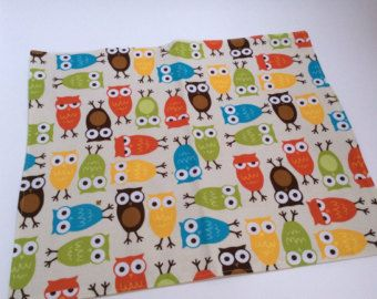 Childrens' Kids PLACEMAT - Smaller size - for home or school - OWLS - Tangerine, Golden Yellow, Turquoise Blue