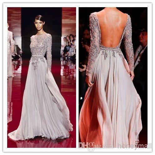 Elegantes Langarm hoher Ansatz Abschlussball-Kleider 2014 Zuhair Murad Abend-Kleider