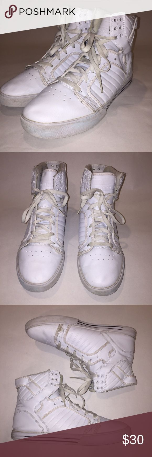 Supra Chad Muska 001 High Tops Supra Chad Muska 001 High Tops in white. Size 12. Used condition, but could been easily cleaned. See photos above for details Supra Shoes Sneakers