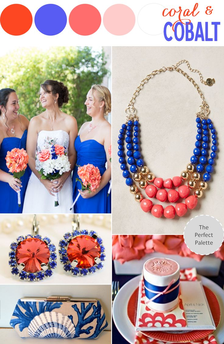 Color Story: Coral + Cobalt - www.theperfectpalette.com - Color Ideas for Weddings + Parties