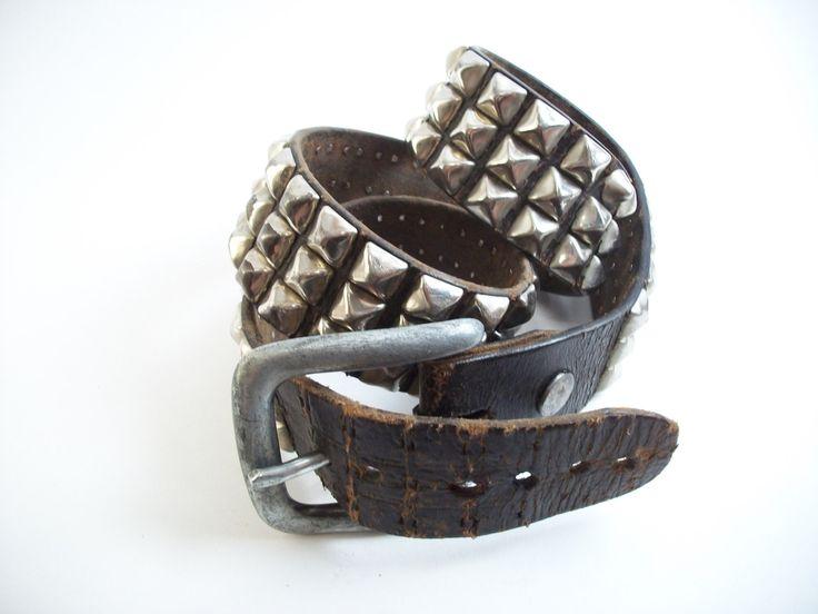 Authentic Vintage Studded black Leather Belt Large Steel Buckle Punk Rock & Roll Oi Rockabilly Accessory Thick Heavy Steel Rocker Style VTG — WordPress.com