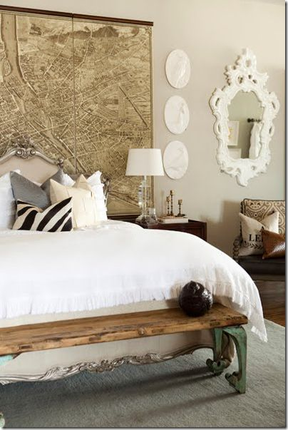 Great use of map!Wall Art, Ideas, Antiques Maps, Benches, Headboards, White Beds, Vintage Maps, Old Maps, Bedrooms