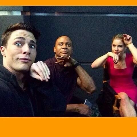 Colton Haynes, David Ramsey and Emily Bett Rickards <3