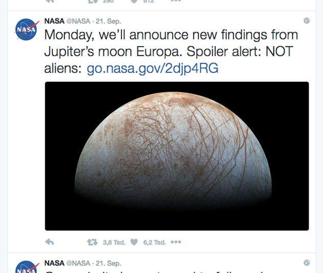 """NASA dämpft Hoffnungen auf Meldung über """"außerirdisches Leben"""" auf Europa . . . http://www.grenzwissenschaft-aktuell.de/nasa-daempft-hoffnungen-auf-ausserirdisches-leben-auf-europa20160923"""