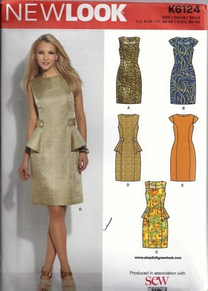 New Look Dress Sewing Pattern U.S. Sizes 4-16, FR. 32-44 Euro 30-42 K6124