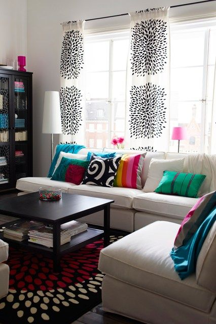 Curtains. DIY idea. Scandinavian Brights - Living Room Furniture & Designs - Decorating (houseandgarden.co.uk)