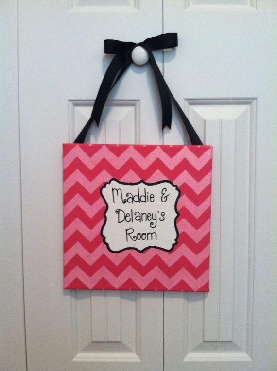 Chevron Dorm Sign Girls Door Sign Girls Door by JustABrushAndPaint, $25.00