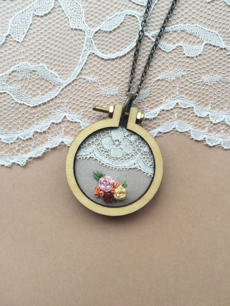 Hand Embroidered Mini Embroidery Hoop Necklace Featuring Vintage Lace: Taupe // plaidlovethreads by PlaidLoveThreads on Etsy
