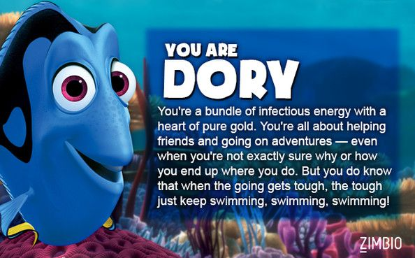 Aaannndddd… I'm Dory. No surprise there. Which Finding Nemo character are you? Zimbio. (¬‿¬)