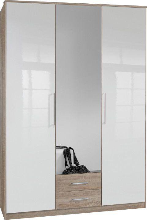 Armoire 135×199 cm à 3 portes brillantes avec poignées en acier chromé dont 1 avec miroir + 2 tiroirs coloris blanc et chêne