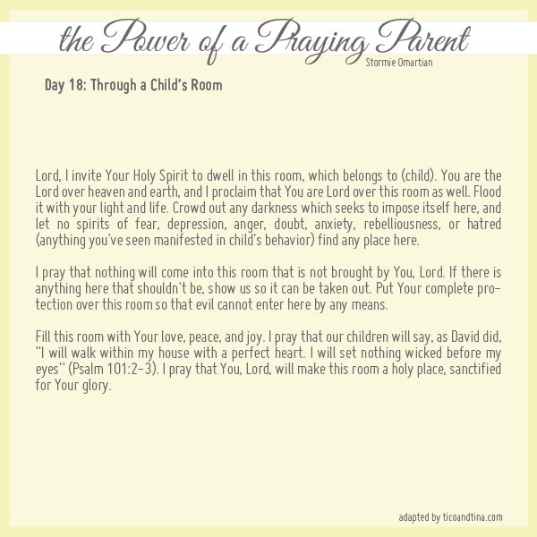 Praying through Your Child's Room from Stormie Omartian - Day 18
