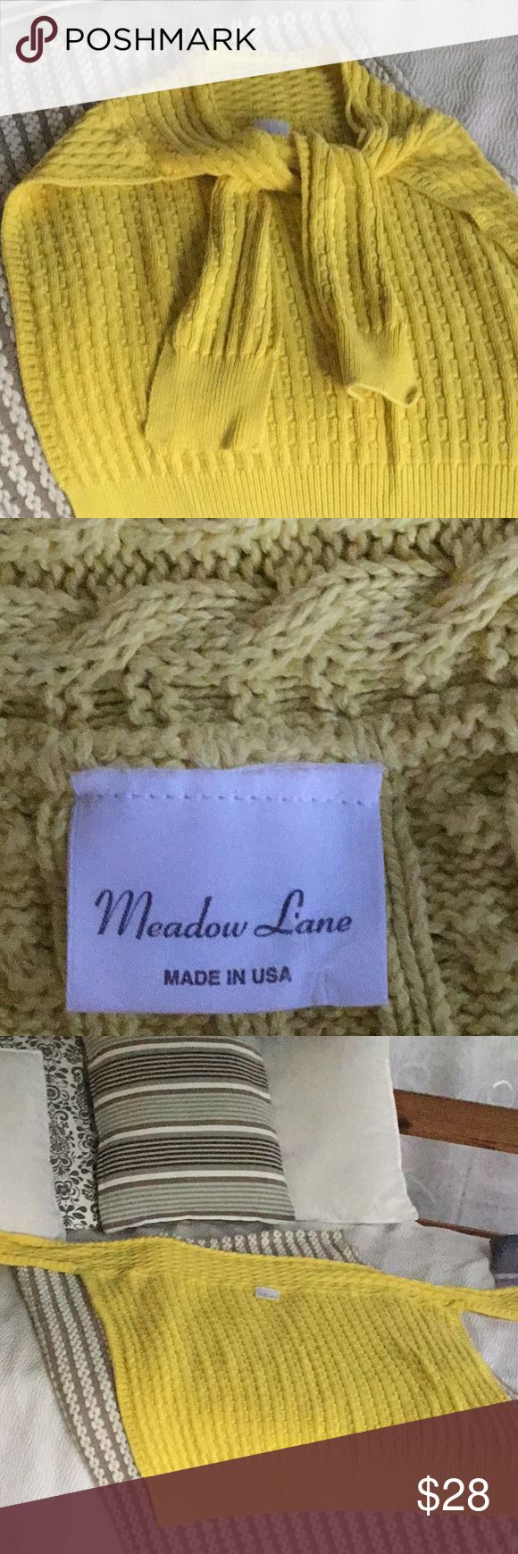 Perfect 4 any occasion Sweater Wrap! Cable knit sweater wrap for those cool nights even inside restaurants, movies, malls and doctors offices Layer over anything. Looks great with charcoal gray. A pretty shade of yellow by Meadow Lane in the USA. One size fits all! Meadow Lane Sweaters Shrugs & Ponchos