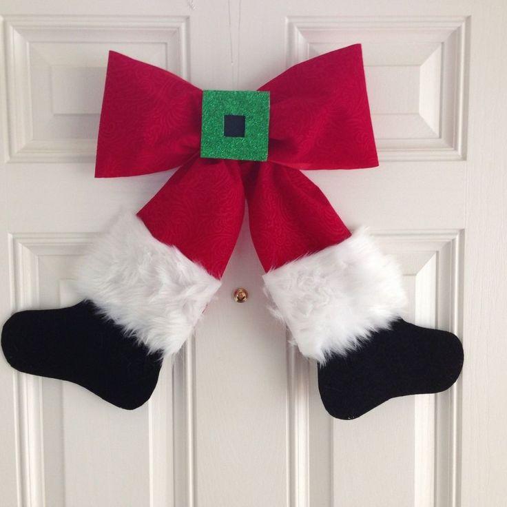 santa bow wreath wall hanging, christmas decorations, crafts, seasonal holiday decor, wreaths
